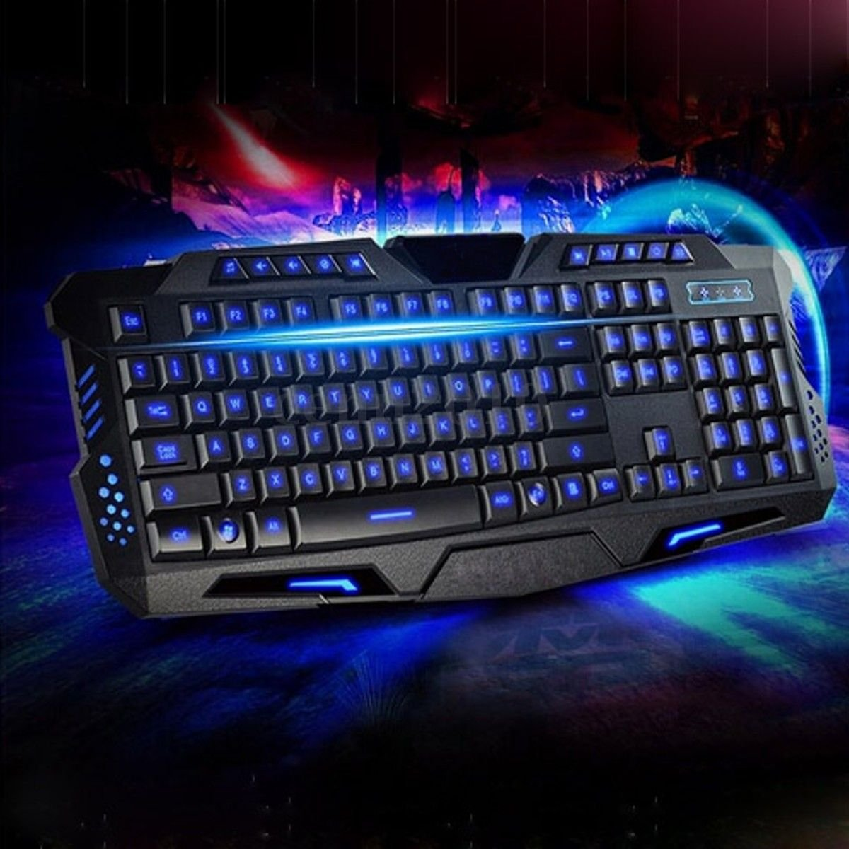Multimedia LED rainbow color backlight adjustable Gaming Game USB Wired Keyboard