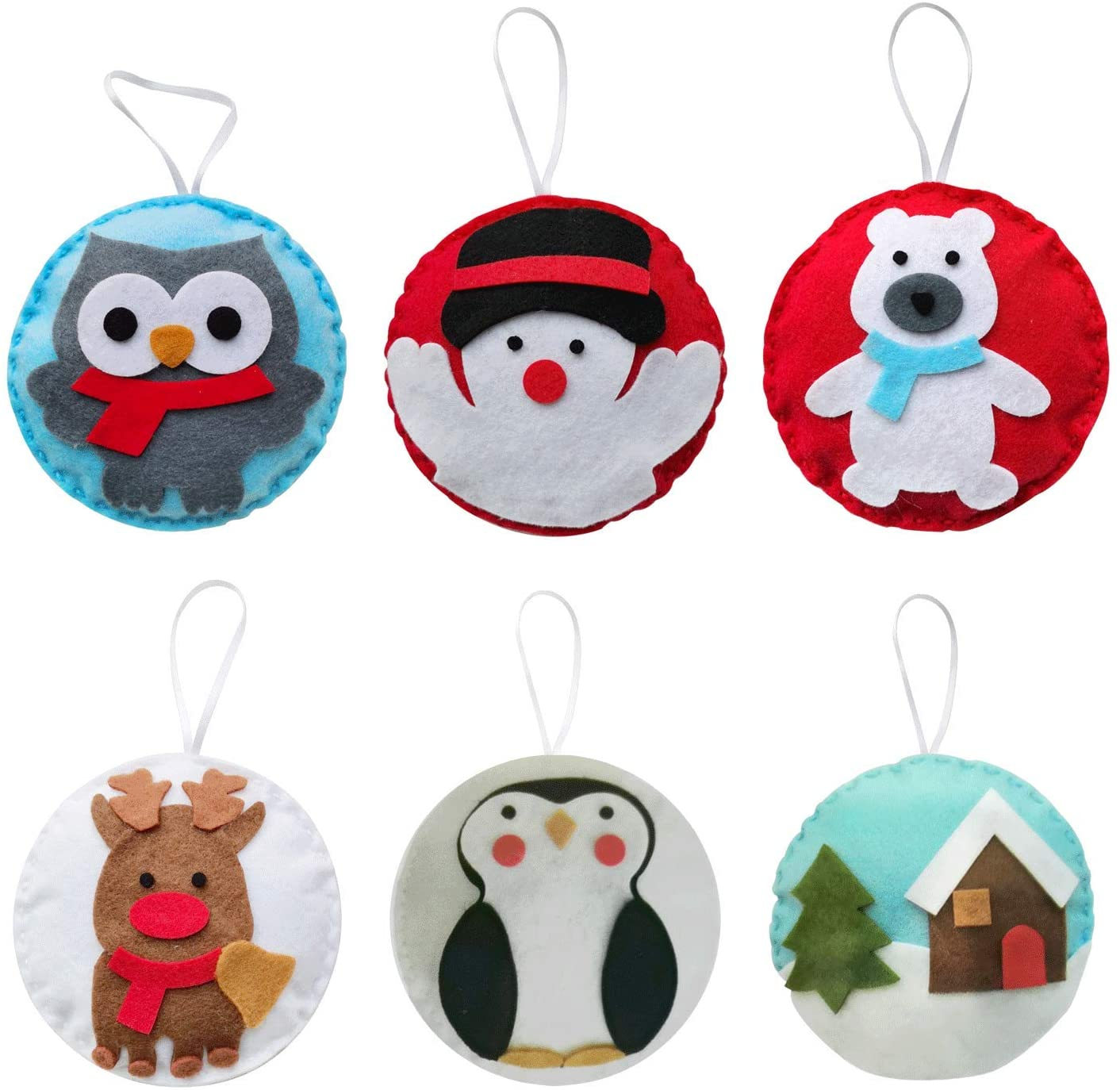 MOVEBO Felt DIY Sewing Crafts (Christmas Ornaments DIY Set),DIY Kit My First Sewing Kit for Kids Girls Boys Preschool Sewing Kits Projects Craft Kits for Kids Sewing Kit Art Projects