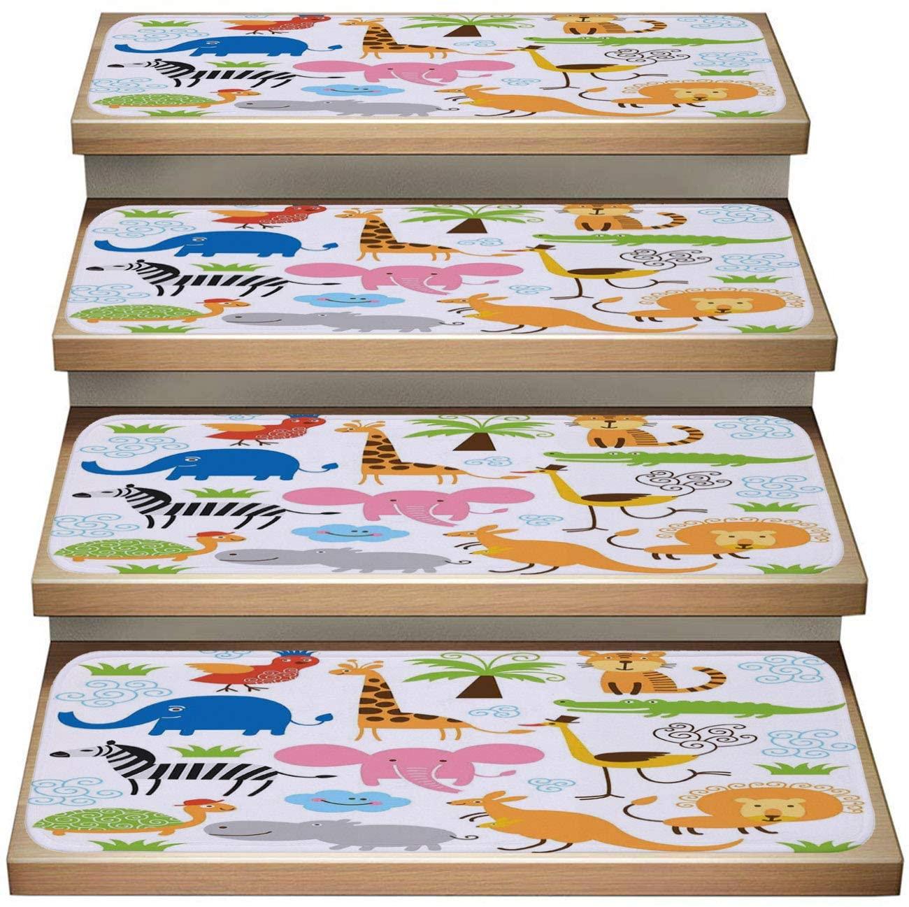 Cartoon Animal 7-Pack Non-Slip Carpet Stair Treads Set,Animal Cute Set Giraffe Elephant Turtle Kids Nursery Baby Themed Cartoon Comic Multicolor,Soft Stair Mat Rotection Kids, Elders, and Dogs Safety