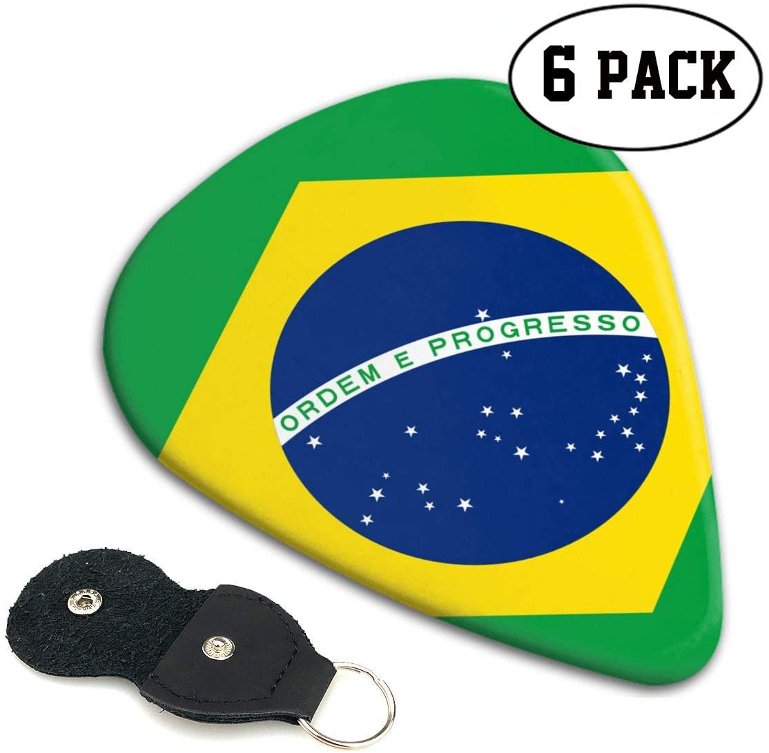 Chion 351 Shape Classic Celluloid Flag of Brazil Guitar Picks 6 Pack