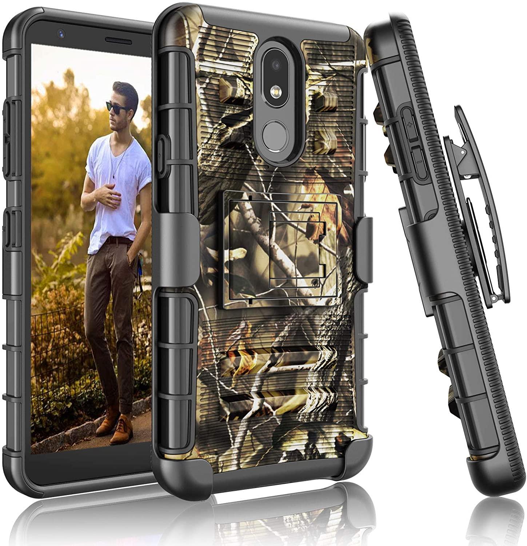 Njjex LG Aristo 4+ Plus Case, LG Escape Plus/Neon Plus/Tribute Royal/Arena 2/K30 2019/Prime 2/Journey LTE Case, [Ngate] Armor Swivel Holster Belt Clip Kickstand Full Body Protective Phone Cover-Branch
