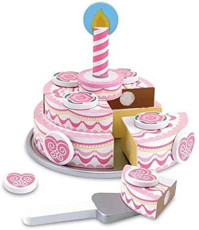 Melissa & Doug Triple Layer Party Cake - Wooden Play Food Set & 1 Scratch Art Mini-Pad Bundle (04069)