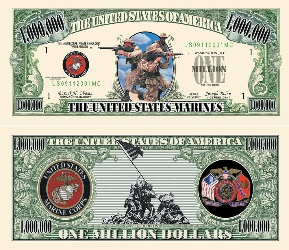 "25 US Marines Million Dollar Bills with Bonus ""Thanks a Million"" Gift Card Set"