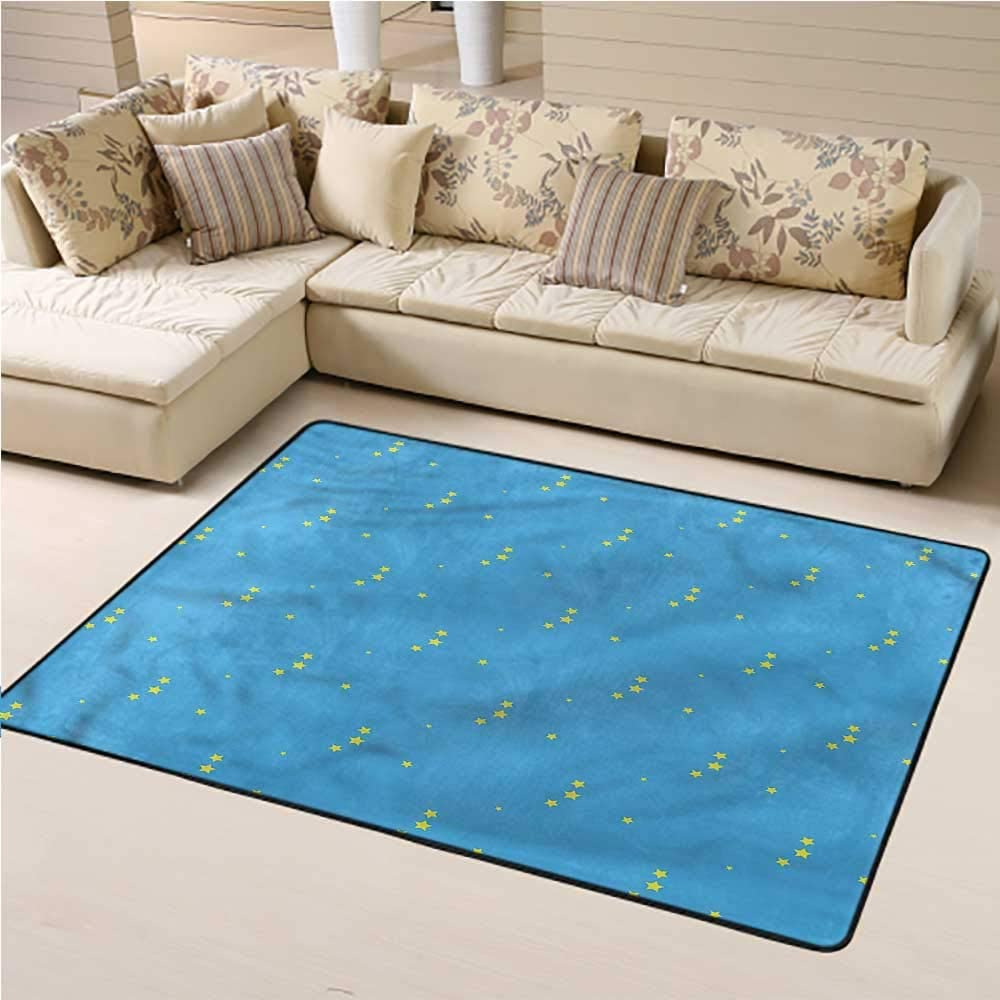 Area Rug Yellow and Blue, Stars in The Sky Baby Crawling Mat Suitable for Children Nursery 4 x 6 Feet