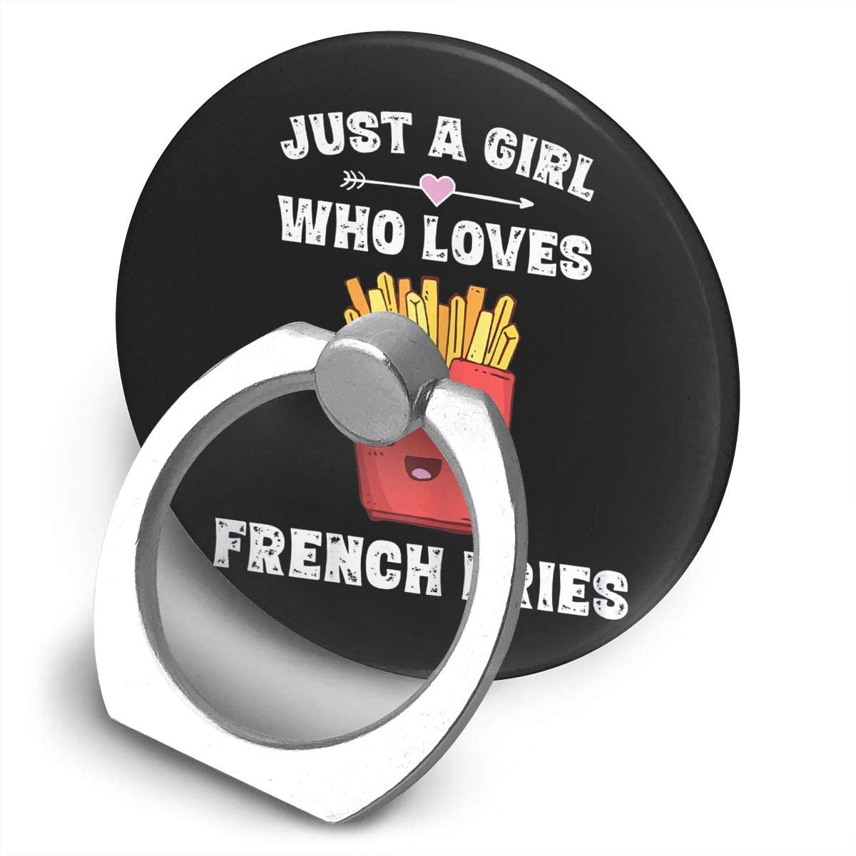 Zwinz Just A Girl Who Loves French Fries Funny Alloy Mobile Phone Ring Bracket,360 Degree Rotating Ring Stand Grip Mounts