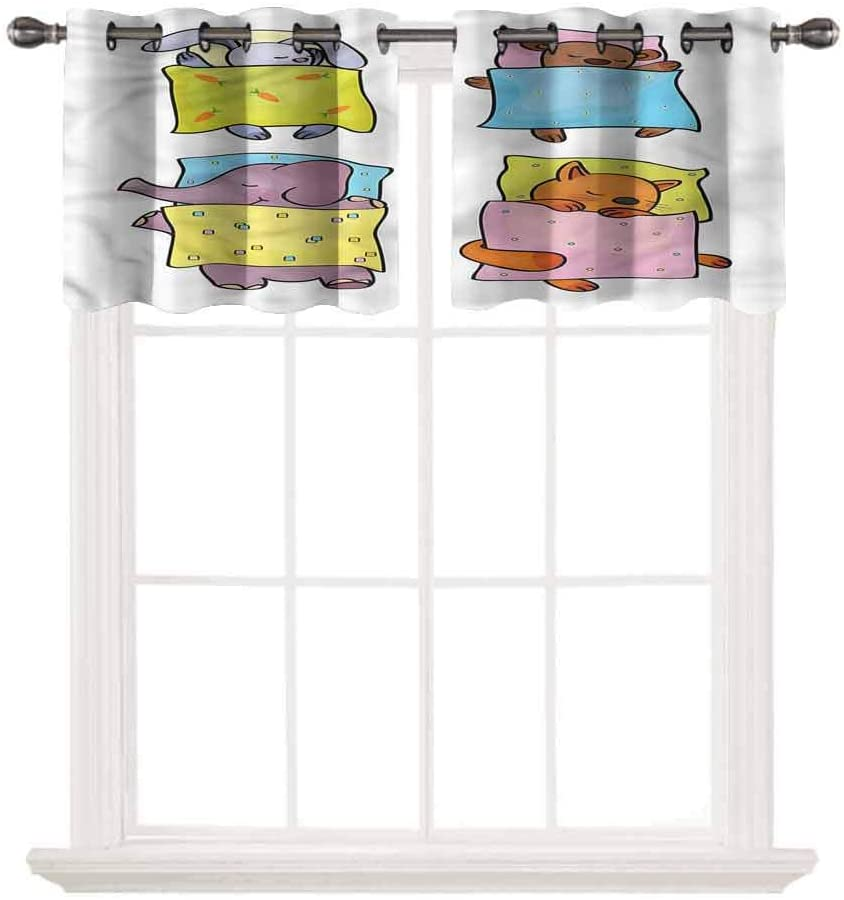 SoSung Blackout Grommet Valance,Baby,Sleepy Animal Friends,for Kitchen Living Dining Room Bathroom Kids Girl Baby Bedroom,W52 by L24,2 Panels