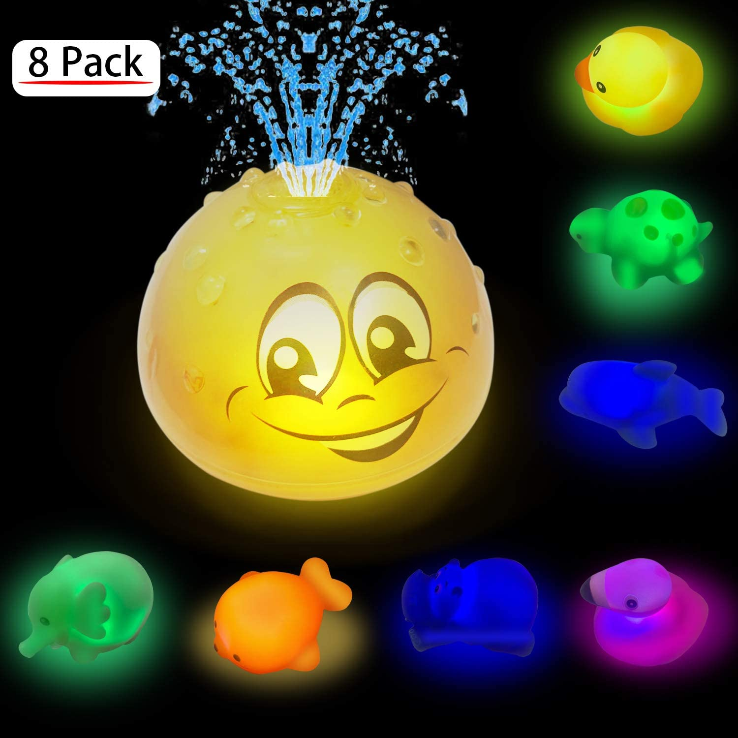 Bath Toys, Induction Spray Water Squirt Toy, 8 Pack LED Light Up Animals Bathtub Toy, Floating Rubber Dolphin Water Toys, Shower Pool Bathroom Toy for Baby Toddler Infant Kid Electronic Sprayer