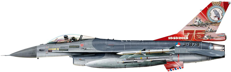 herpa 580403 Royal Netherlands Air Force Lockheed Martin F-16A-322 Squadron, Leeuwarden AB-75th Anniversary J-879, Multicoloured