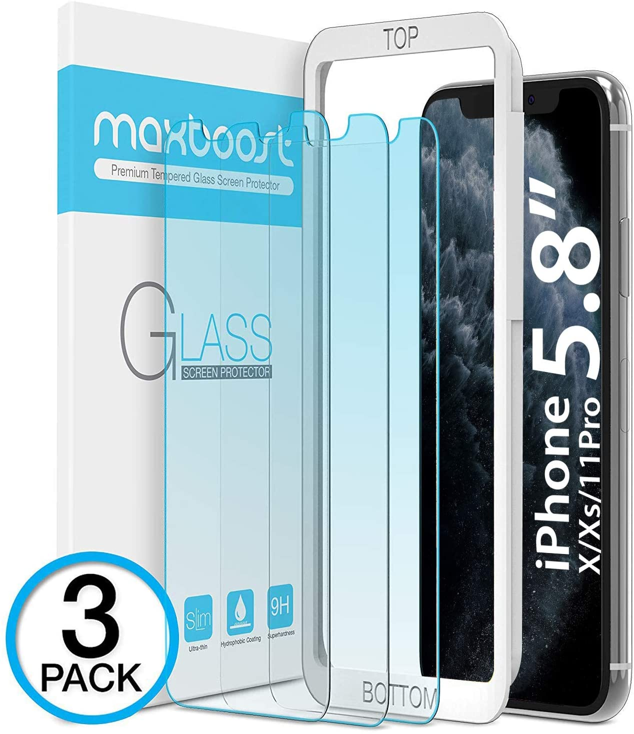 Maxboost (3 Pack) Screen Protector with Anti-Blue Designed for Apple iPhone 11 Pro/iPhone Xs/iPhone X (5.8