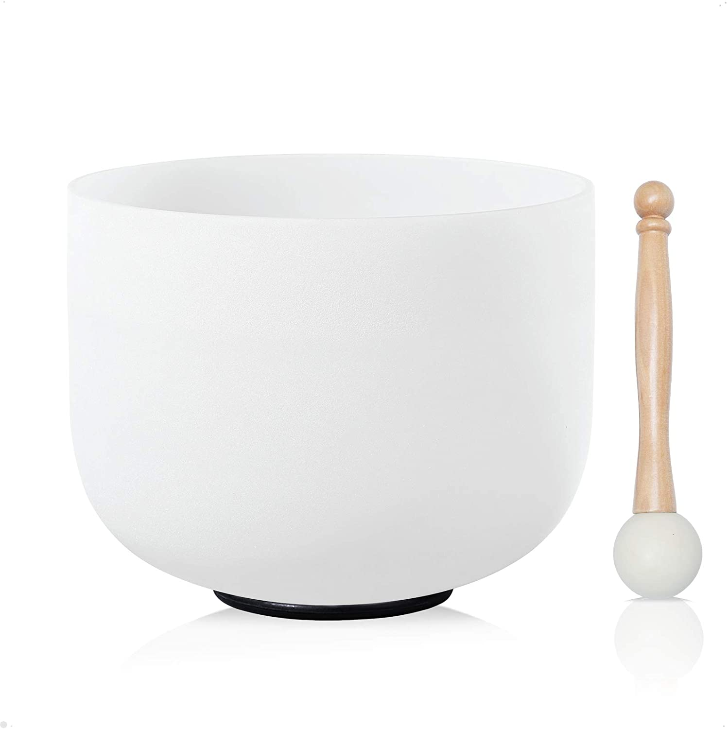 CVNC 14 Inch G Note Throat Chakra Frosted Quartz Crystal Singing Bowl Free Mallet & O-ring Sound Healing Instrument