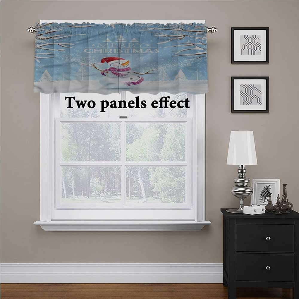 shirlyhome Christmas Valance Snowy Winter Noel for Kids Room/Baby Nursery/Dormitory, 60 Inch by 18 Inch 1 Panel