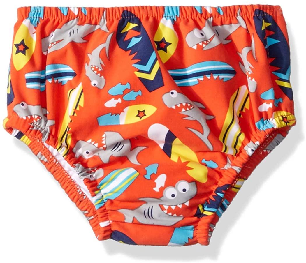 Swim Time Boys' Baby Reusable Swim Diaper UPF 50+ with Side Snaps, Orange Shark/Surfboard, X Large 18-24M