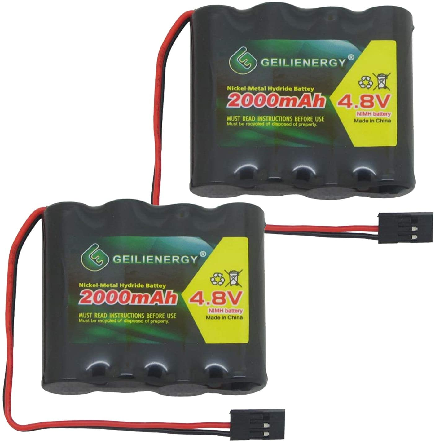 QBLPOWER 4.8V 2000mAh NiMH RX Receiver Battery Pack RC Futaba Hitec JR for RC Cars and Airplanes(2 Pack)