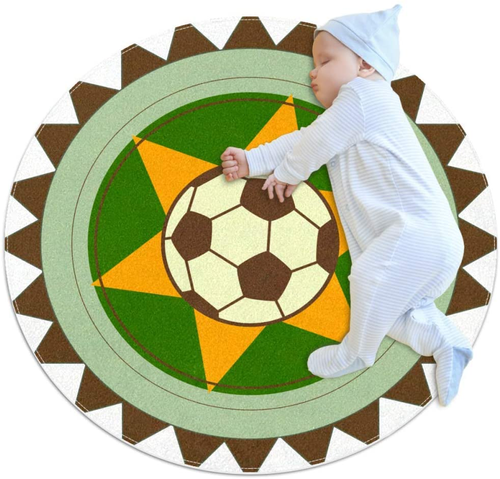 Sports Football 01 Nursery Round Rug for Kids Room Soft and Smooth Suede Surface Non-Slip Castle Tent Game Mat Best Gift for Your Kids 2feet 3.5inch