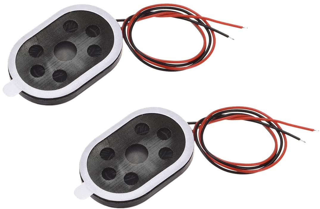 uxcell 1W 8 Ohm Mini DIY Magnetic Speaker Replacement Loudspeaker 20mmx30mm for Electronic and GPS Navigator 2pcs