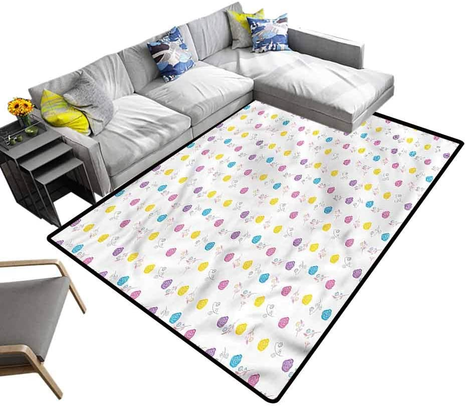 Paint, Modern Rugs Romantic Roses Blossoming Baby Floor Playmats Crawling Mat for Kids Living Room Nursery Home Decor, 6'x 9'