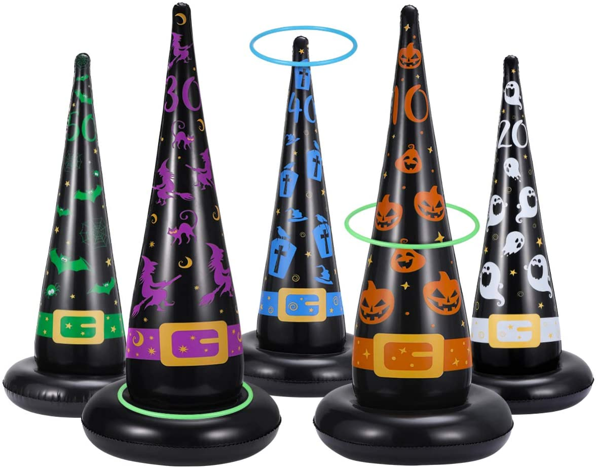 CLISPEED Halloween Ring Toss Game Set, 5PCS Inflatable Witch Hats with 10PCS Plastic Rings, Halloween Party Games Indoor Outdoor Fun