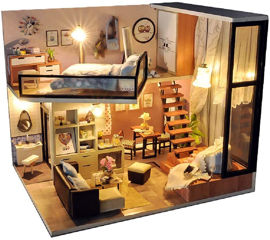 Kisoy Romantic and Cute Dollhouse Miniature DIY House Kit Creative Room Perfect DIY Gift for Friends,Lovers and Families Comes with Dust Proof Cover and Music Movement (Dream Attic)