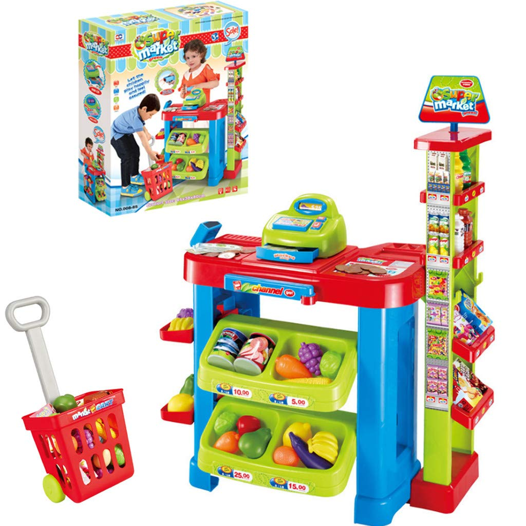 Children Play Supermarket Toy Cash Register Set Toy Super Simulation Store Toy Workbench Holiday Birthday Gift (Multicolor)