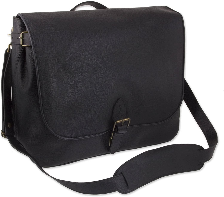 NOVICA Black Leather Briefcase, Executive Elegance'