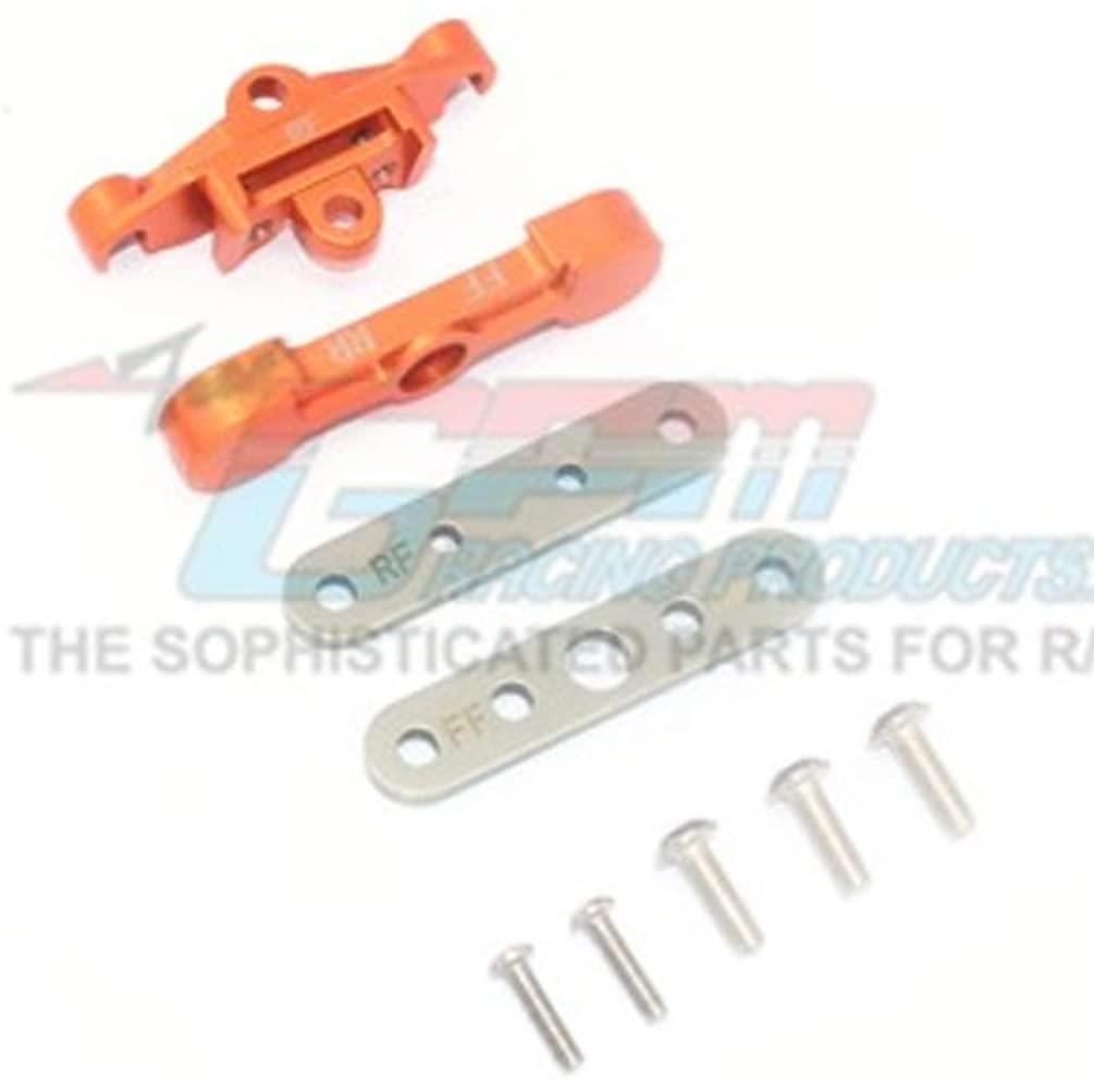 GPM TRAXXAS-1/10 MAXX Monster TRUCK-89076-4 Aluminum Rear Lower ARM TIE BAR Mount -9PC Set (Orange)