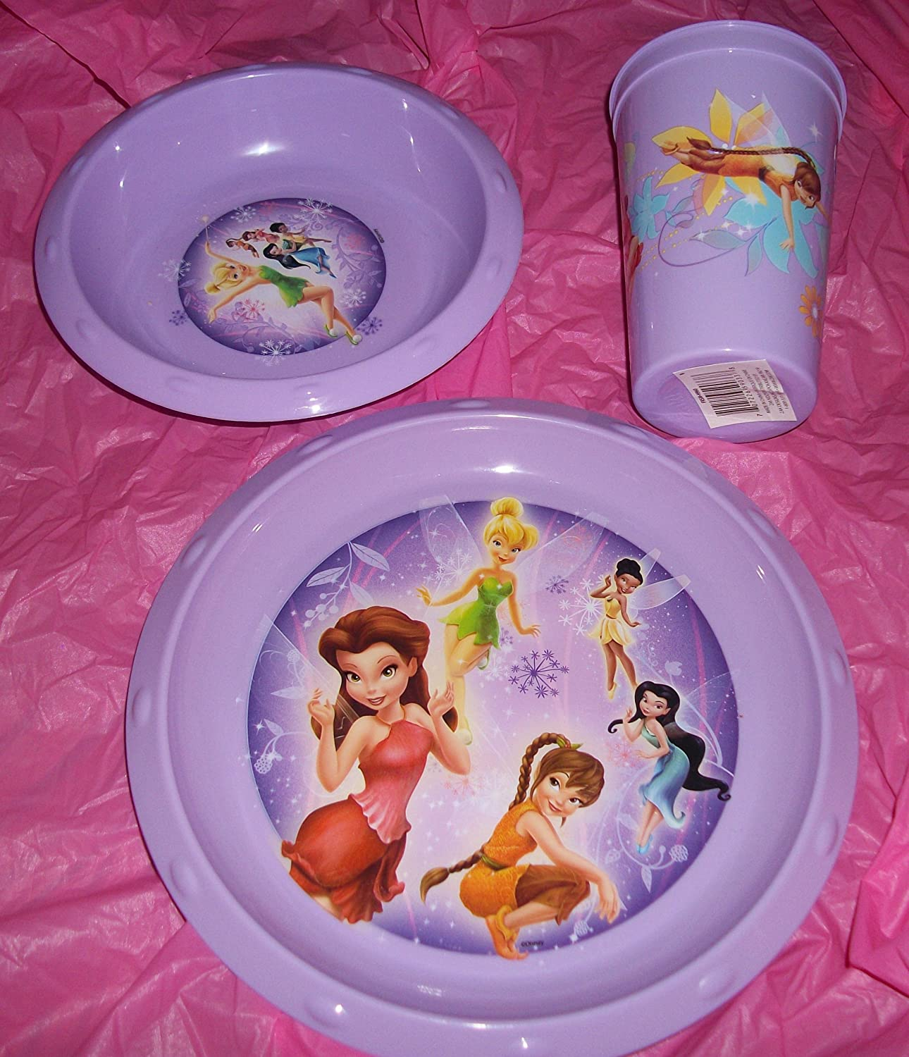 Tinkerbell Disney Fairy 3 Piece Dinnerware Set Light Purple
