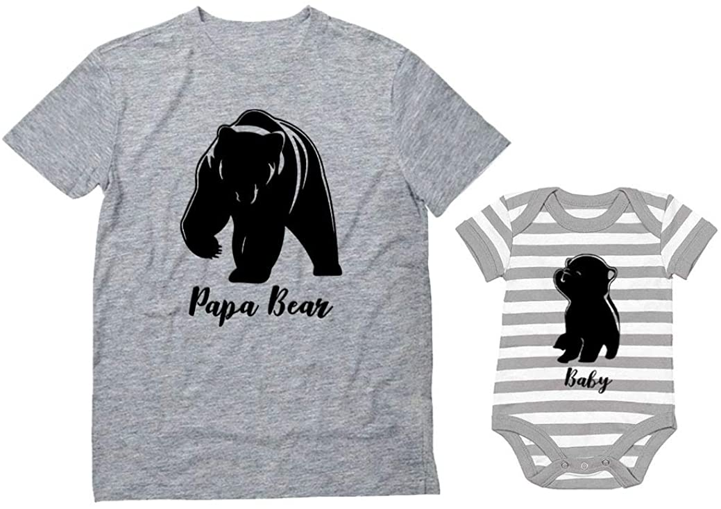 Baby & Papa Bear Men's T-Shirt & Baby Bodysuit Outfit Father & Son Matching Set