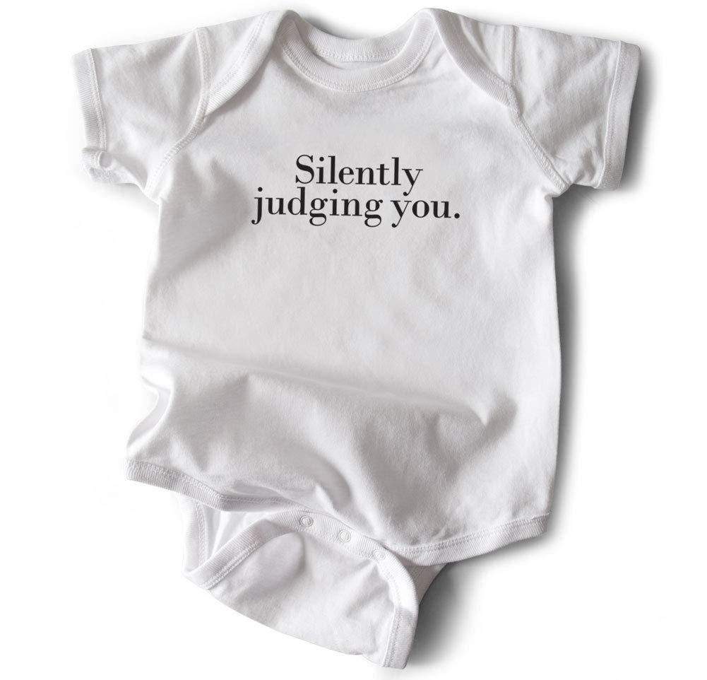 Wrybaby Funny Baby Bodysuit |Silently Judging You| White, 0-6M