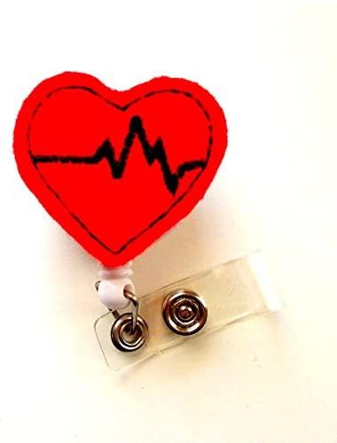 Beating Heart Red- Cute Badge Holder - Nurses Badge Reel - Felt Badge Holder - Nursing Badge Holder - Cardiac Badge Reel - EKG Badge Holder - Cardio Nurse Badge