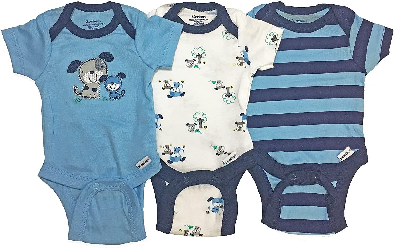Gerber Baby Boy Onesies Bodysuits 3-Pack Blue Dogs 3-9 Months