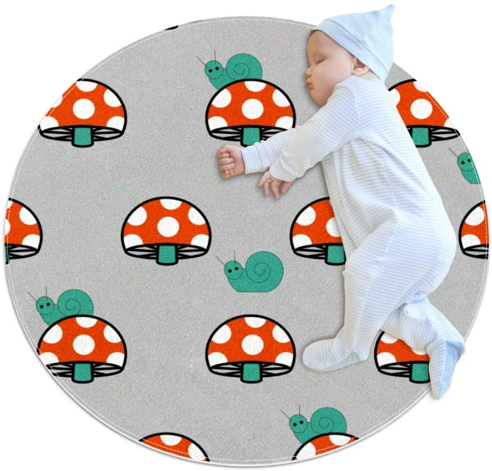 Cartoon Mushroom Baby Crawling mat Home Decorative Carpet Soft and Washable Pad Non-Slip for Kid's Toddler Infants Room 2feet 3.5inch