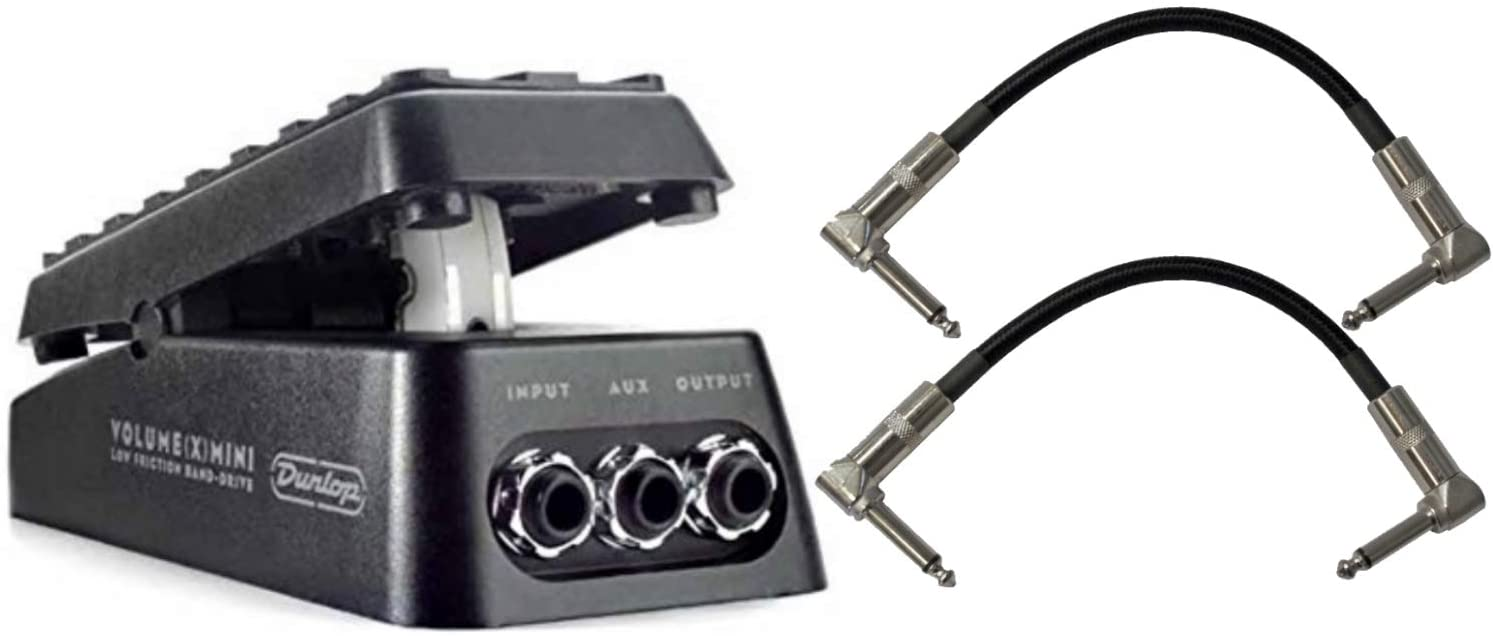 Jim Dunlop DVP4 Volume (X) Mini Pedal for Electric Guitars Bundle with 2-Pack of Pedal Patch Cables