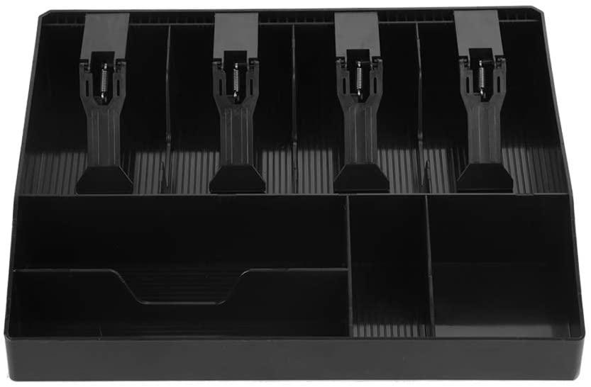 Hilitand Money Register Cash Box Cash Tray Drawer Register,Plastic Money Box, 4 Bills & 4Coins Tray Compartments Money Storage Box(Black)