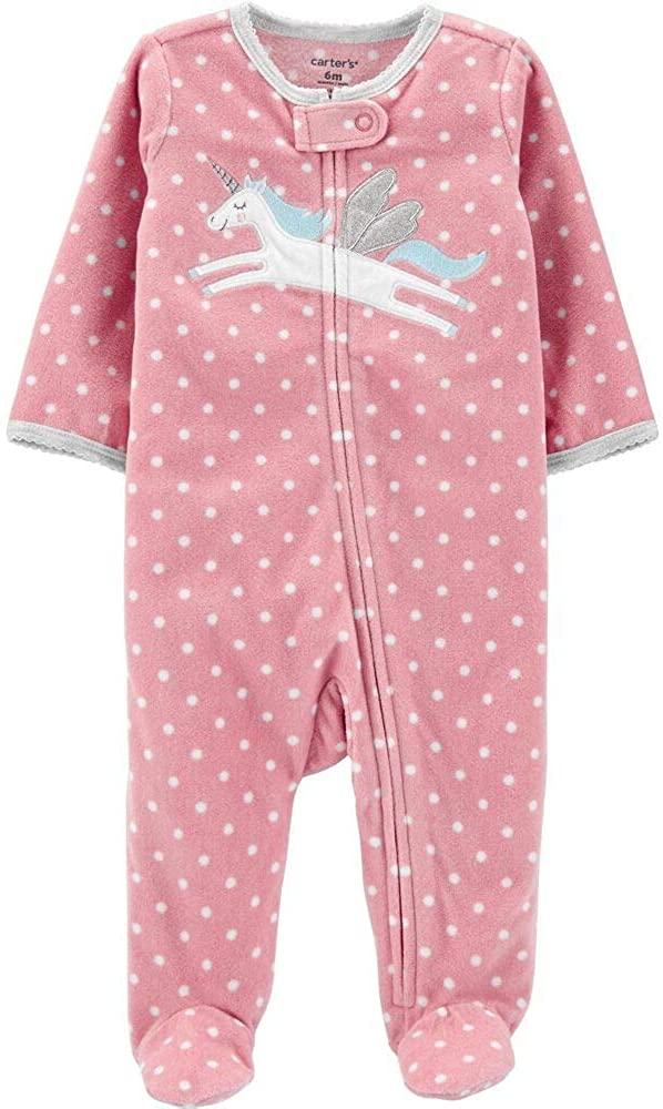 Carter's Baby Girl's Zip Front Pink Pegasus Fleece Footed Sleeper Newborn