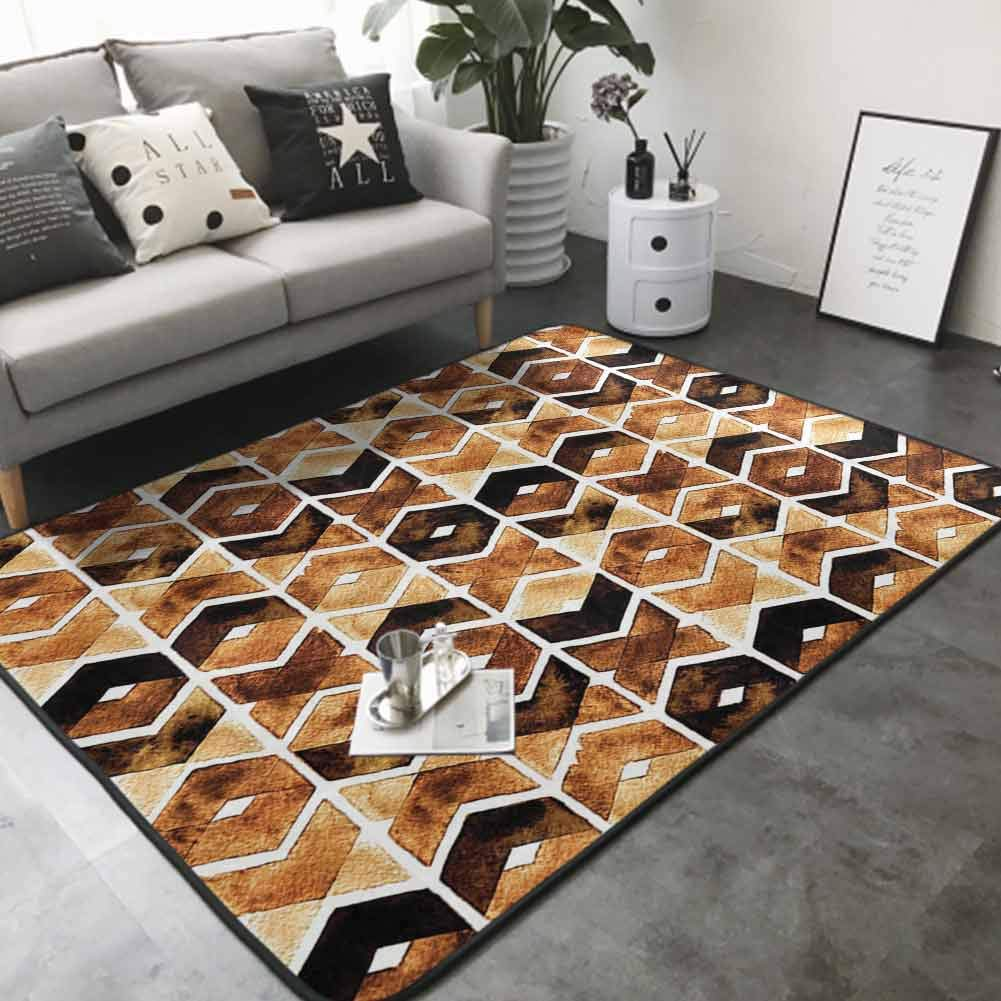 Polyester Non-Slip Doormat Rugs Colorful Chevron Geometric Motifs in Dark Coffee Colors Zigzag Tribal 60
