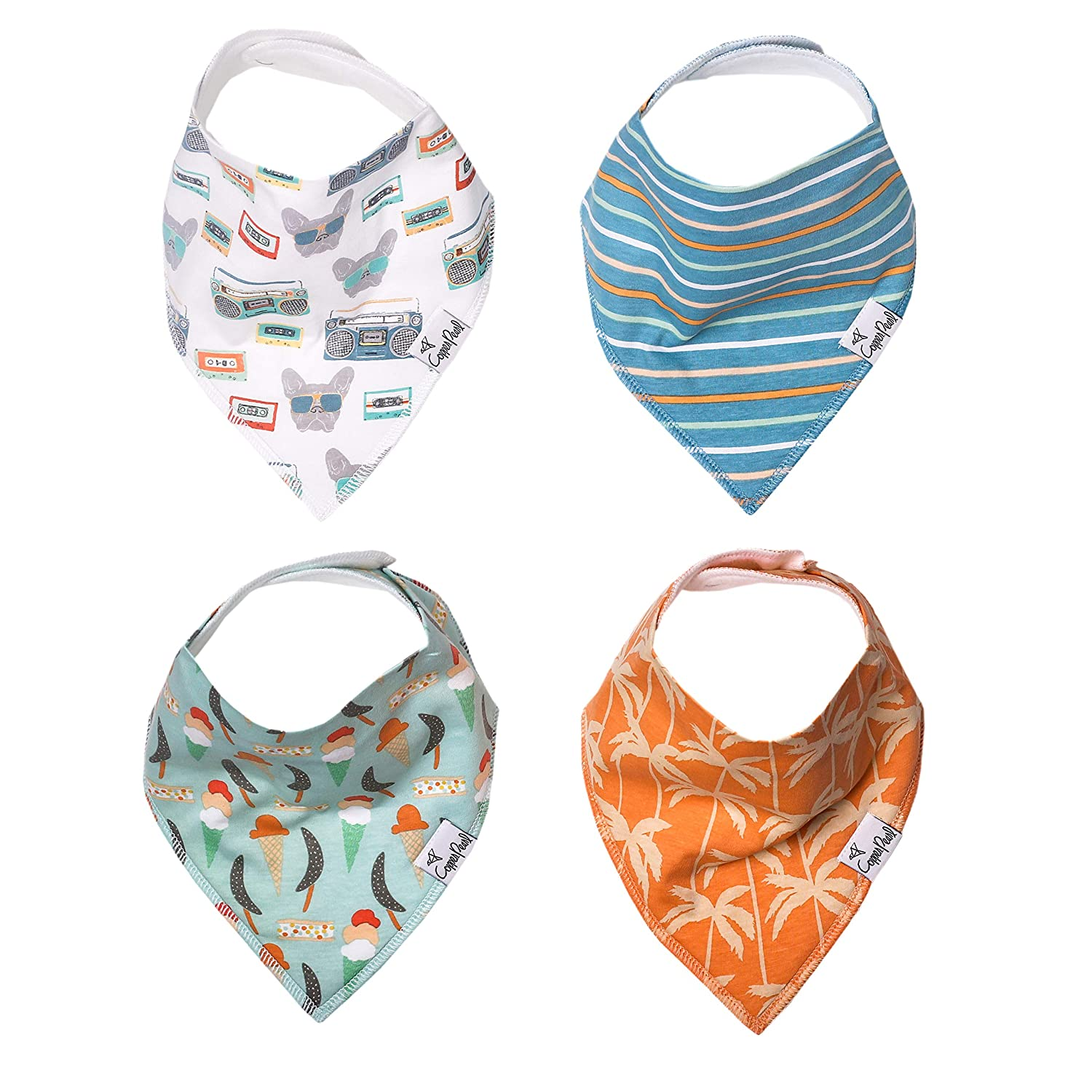"Baby Bandana Drool Bibs for Drooling and Teething 4 Pack Gift Set ""Bruno"