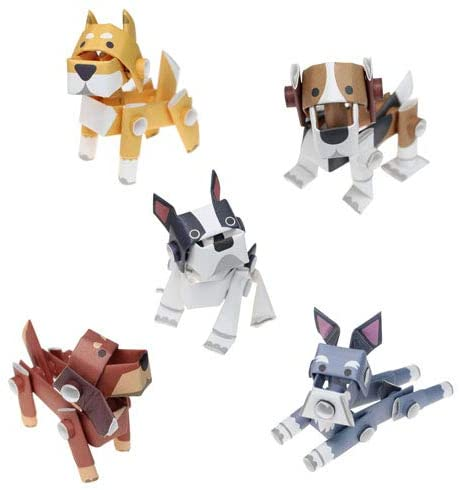 PIPEROID Animals DIY 3D Puzzle Paper Craft Kit Value Pack 3 pcs Set (Dogs) - Japanese Arts and Craft Kit for Kids and Adults - Birthday Gift and Party Favor for Origami Paper Craft Enthusiasts