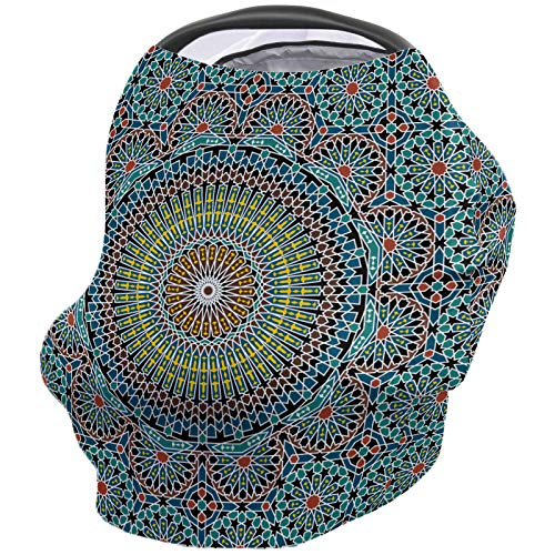 Car Seat Canopy Nursy Cover Geometric Decor, Multi Use Breastfeeding Scarf for Infant Carseat Canopy Stroller Shopping Cart Traditional Middle Eastern Moroccan Arabesque Culture Artful Design