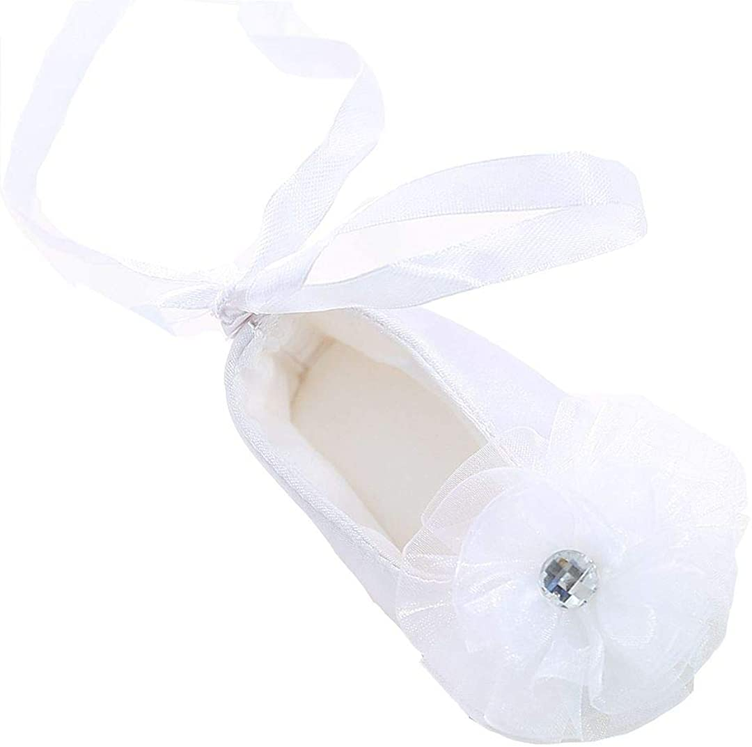 Bow Dream Baby Girl's Baptism Christening Shoes White Lace Reinstones Flowers