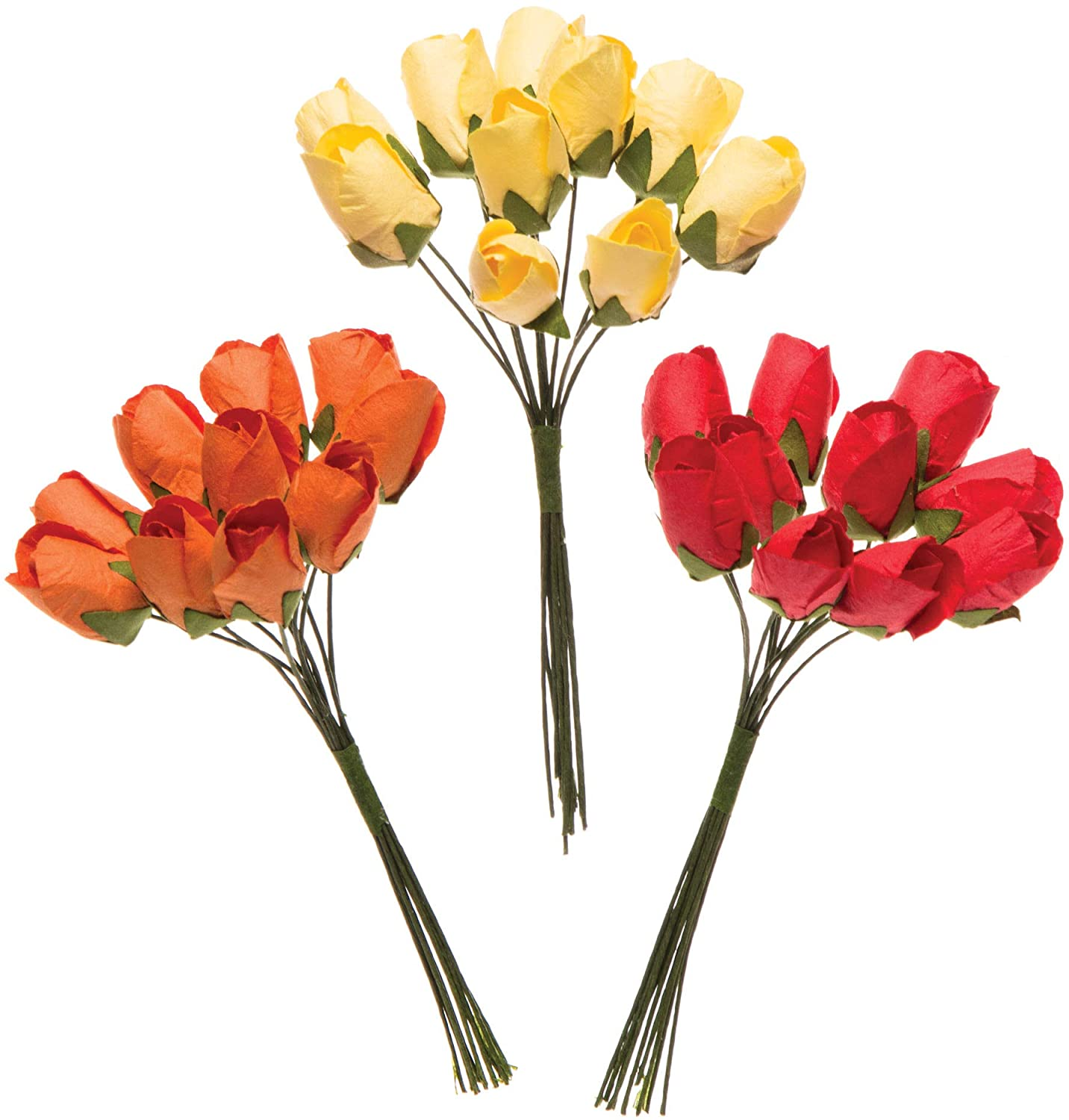 Baker Ross Mini Paper Tulips (Pack of 30) Embellishments for Kids Spring Themed and Easter Arts and Crafts