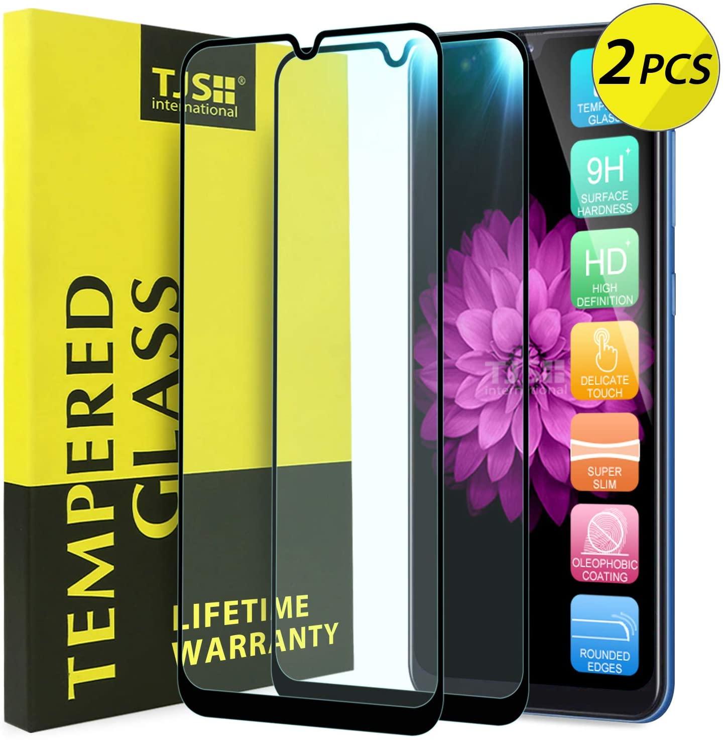 [2-Pack] TJS Screen Protector for Samsung Galaxy A50/Galaxy A30/Galaxy A20 [Full Screen Coverage][Tempered Glass] Case Friendly, Shatterproof, Bubble Free, Anti-Fingerprint (Black)