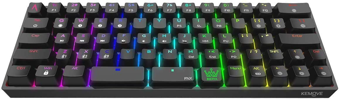 DIERYA Bluetooth 5.1 Mechanical 60% Gaming Keyboard, Wired/Wireless Dual Spacebar Hot-Swappable Waterproof Type-C 66 Keys Computer Keyboard with Full Keys Programmable (Gateron Optical Red Switch)