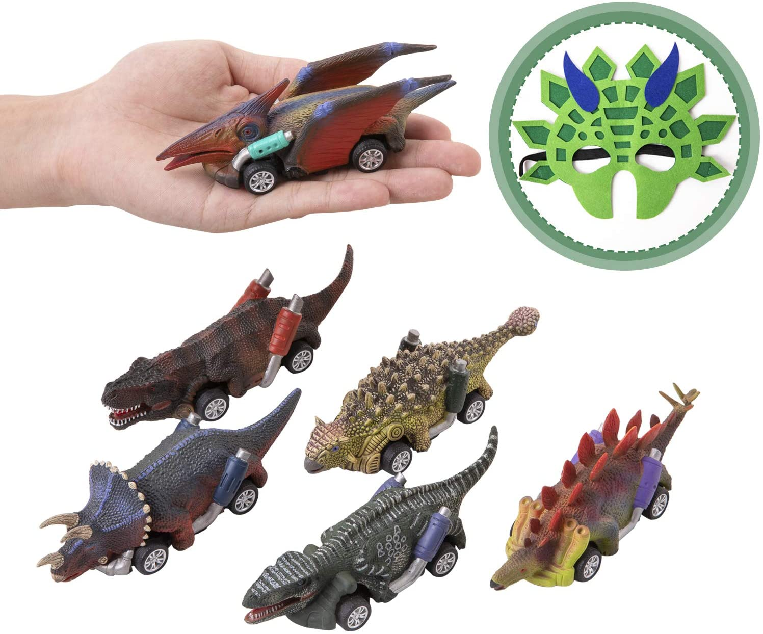Dinosaur Cars- Pull Back Dinosaur Vehicle Set With Wheel New Vehicles Car Toy Mini Pull Back Dino Cars Toy for 3-14 Year Toddlers Boys Girls,Animal Vehicles for Kids Party Great Toys Gift Favors-7Pack