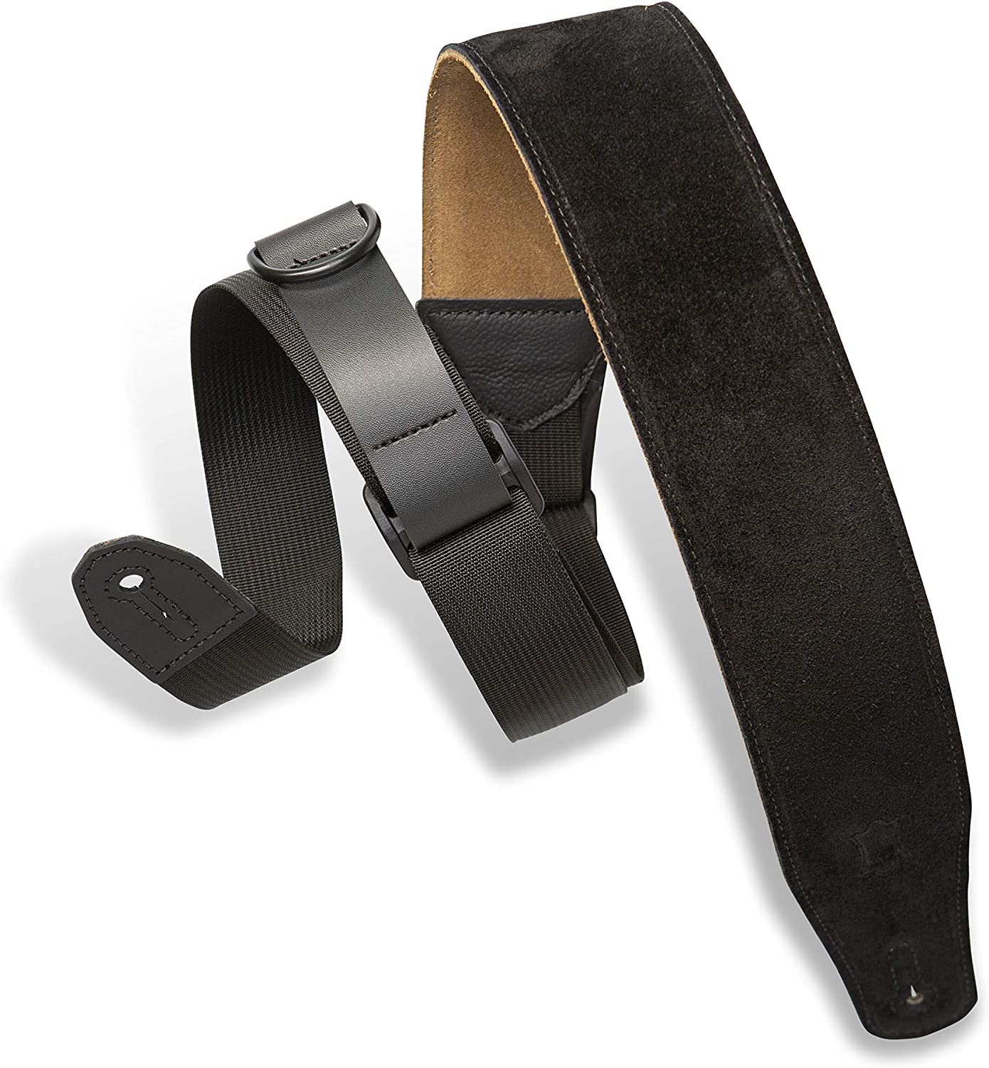 Levys Leathers Right Height Guitar Strap with RipChord Quick Adjustment Technology; 2.5 Wide Suede - Black (MRHSP-BLK)