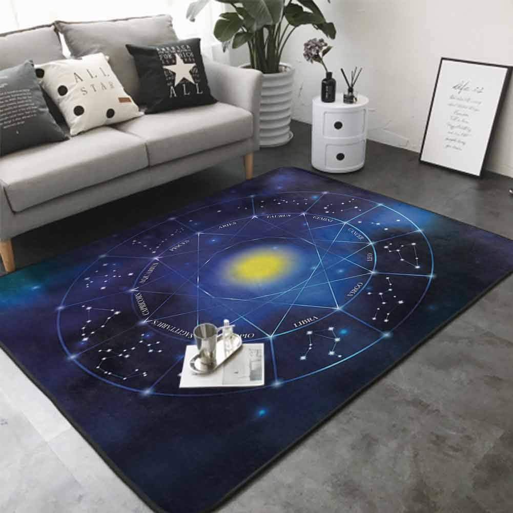 Floor Mat for Toilet Non Slip Collection of Zodiac Signs in a Geometric Circle Horoscopes Sun 60