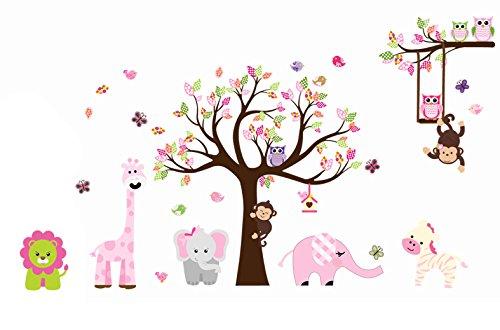 Jungle Zoo Animal Girafee, Elephant, Lion, Zebra and Monkey Having Party on Tree Monkey Wall Decal Owl Zoo Wall Decal