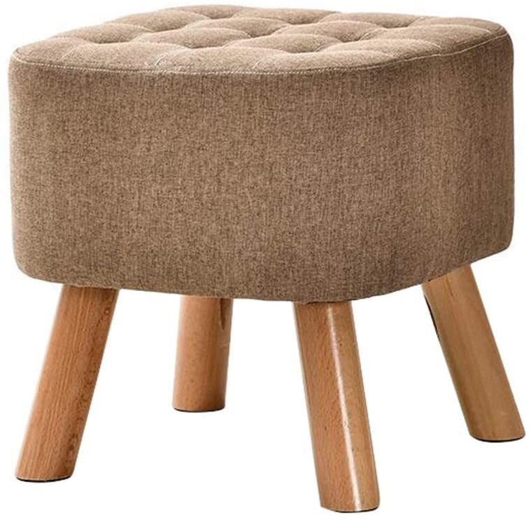 PLLP Bed End Stool,Modern Large Square Footstool Ottoman Pouffe Chair Solid Wood Foot Stools Dressing Stool 4 Legs and Linen Cover