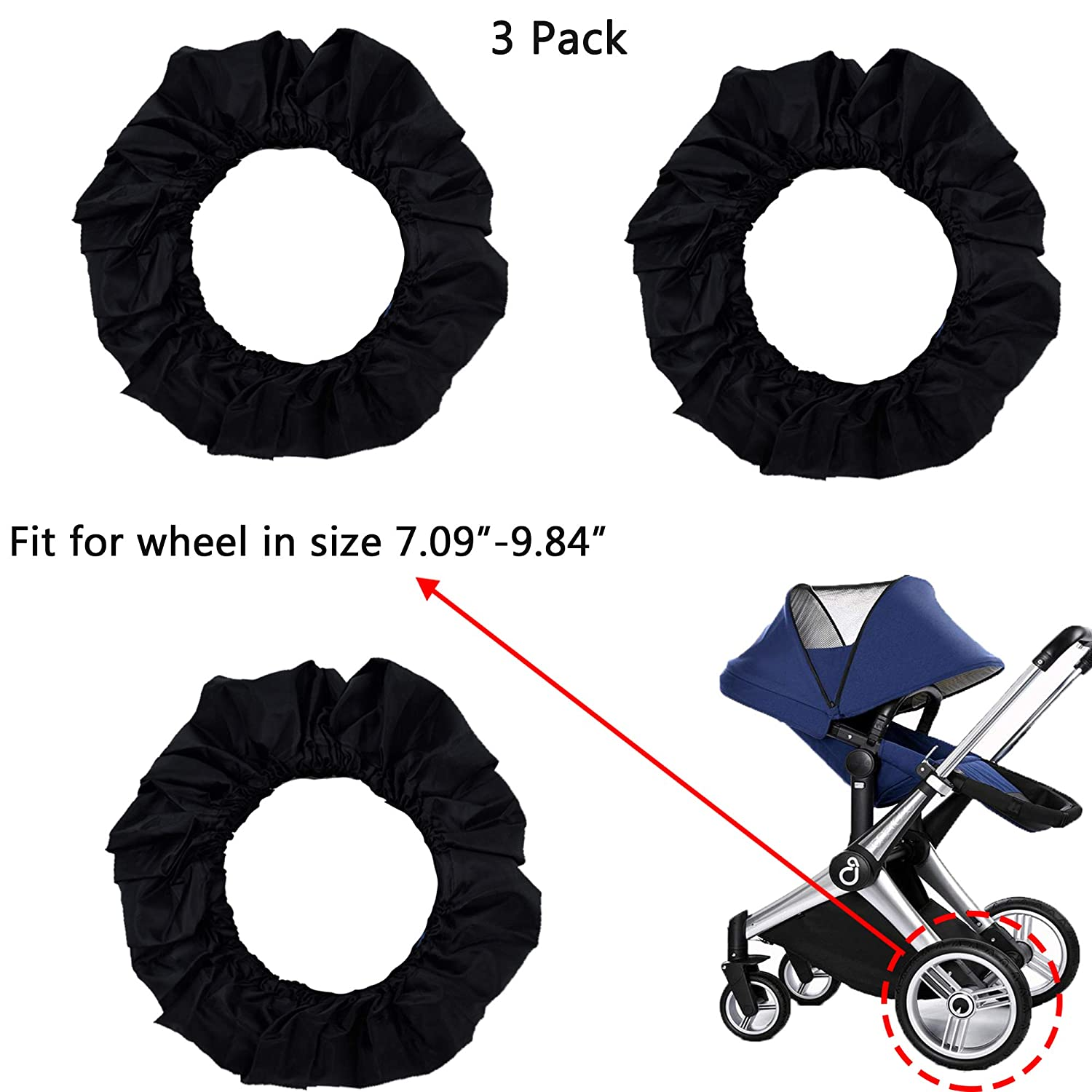 LiXiongBao 3 Pcs Baby Stroller Wheel Cover Black Dustproof Wheelchair Tire Protector Cover Pushchair Wheel Cover Protector Accessory for 7.09 inches-9.84 inches