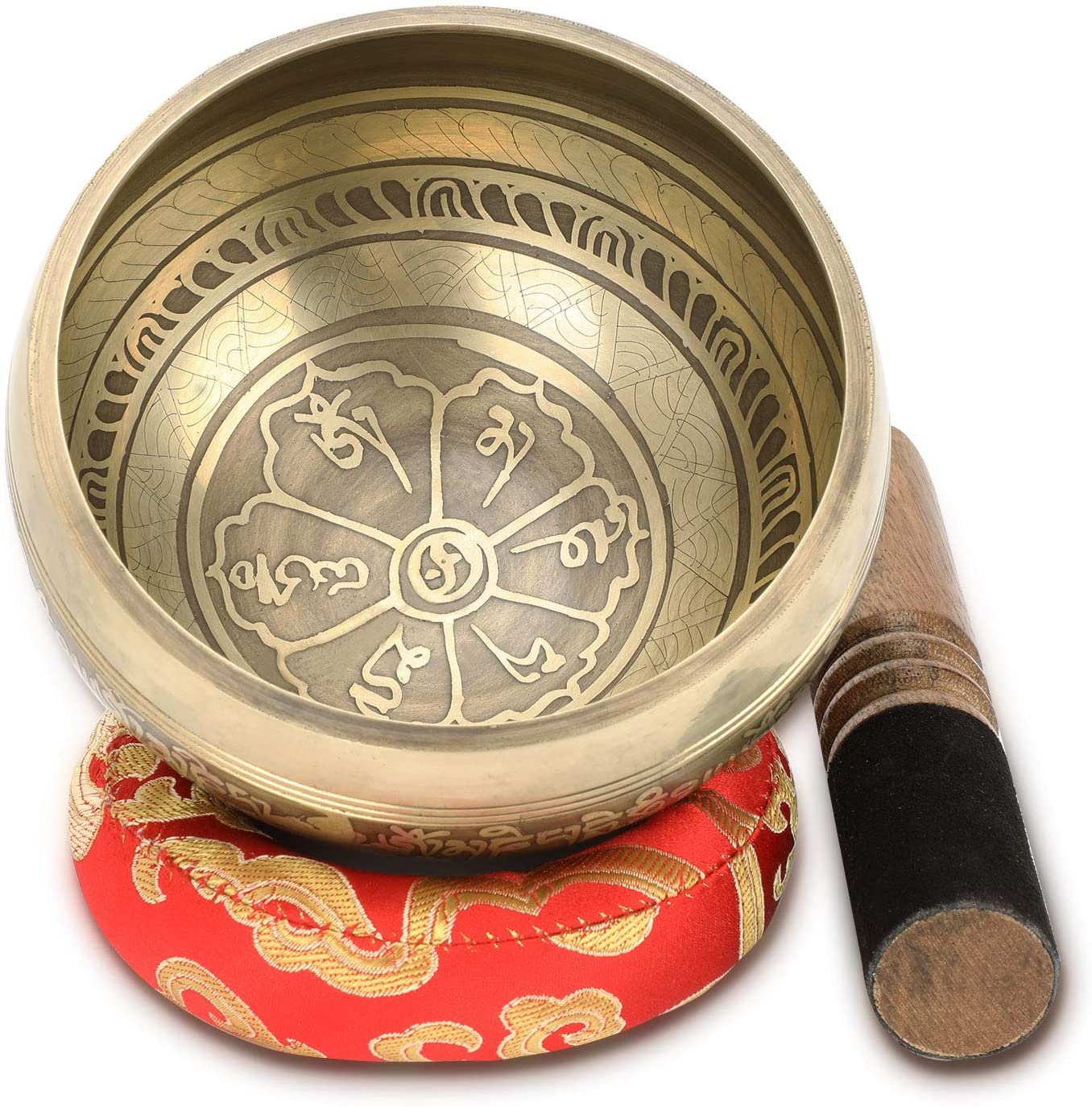 Singing Bowl Tibetan Meditation Bowl Set With Dual Surface Mallet and Silk Cushion,Promotes Peace, Chakra Healing And Mindfulness