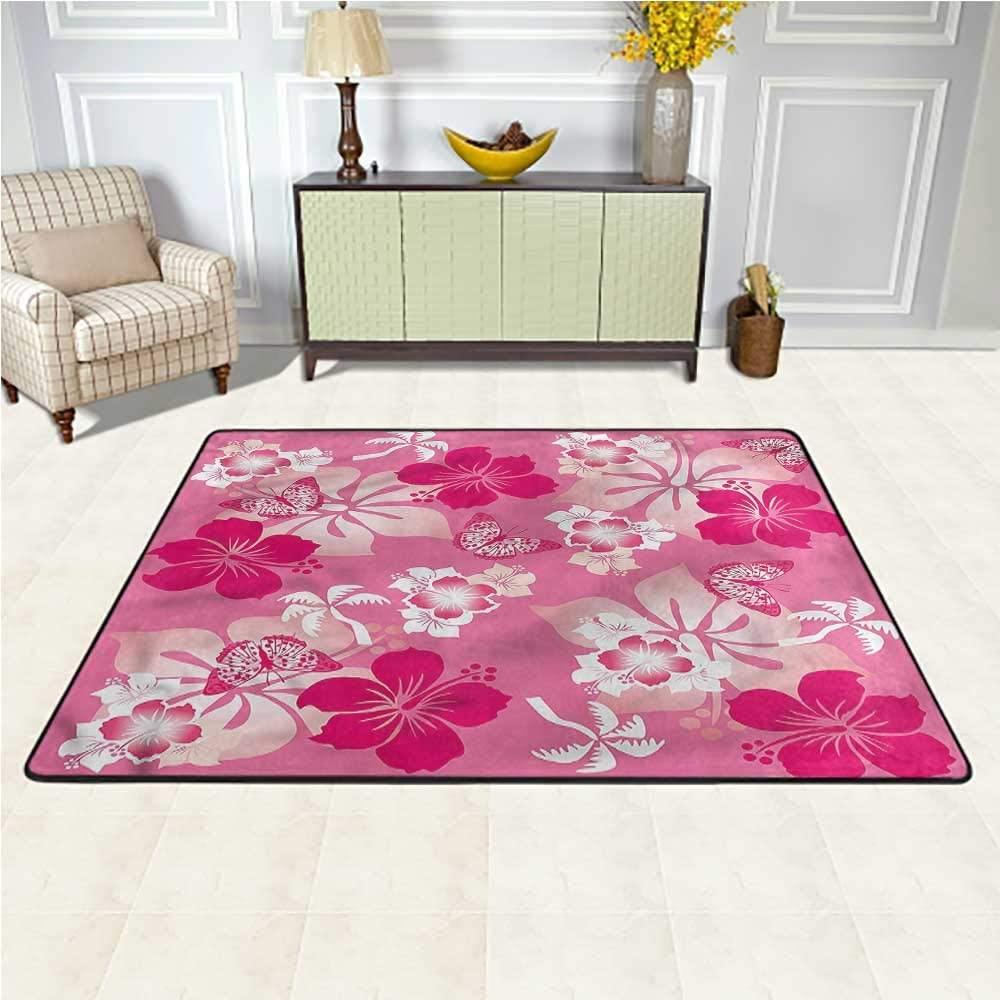 Rugs Luau, Pink Hibiscus Butterflies Baby Floor Playmats Crawling Mat for Bedroom Living Room Girls Kids Nursery 5 x 7 Feet